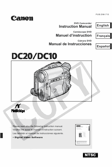 Canon digital camcorder DC10, DC20 User Manual