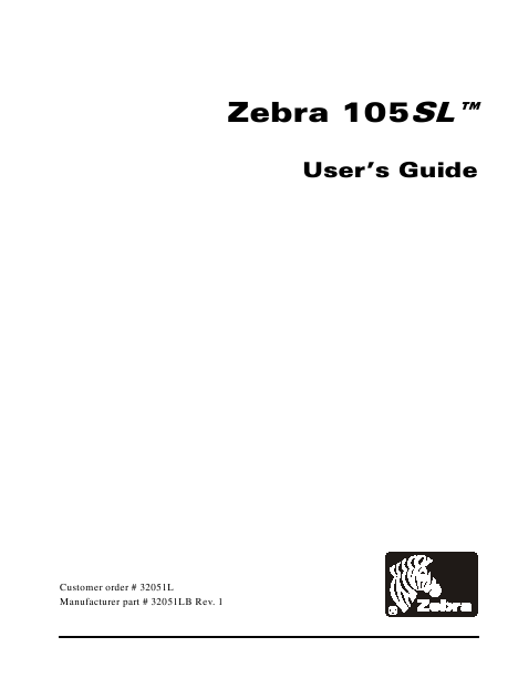 Zebra User's Guide Printer 105SL