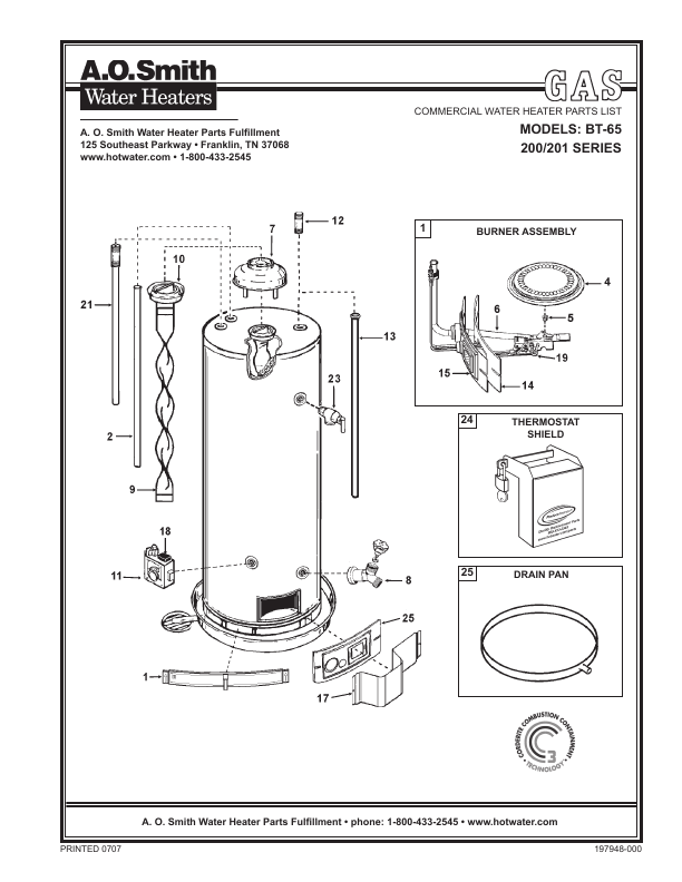 A.O. Smith Water Heater BT- 65 User's Guide