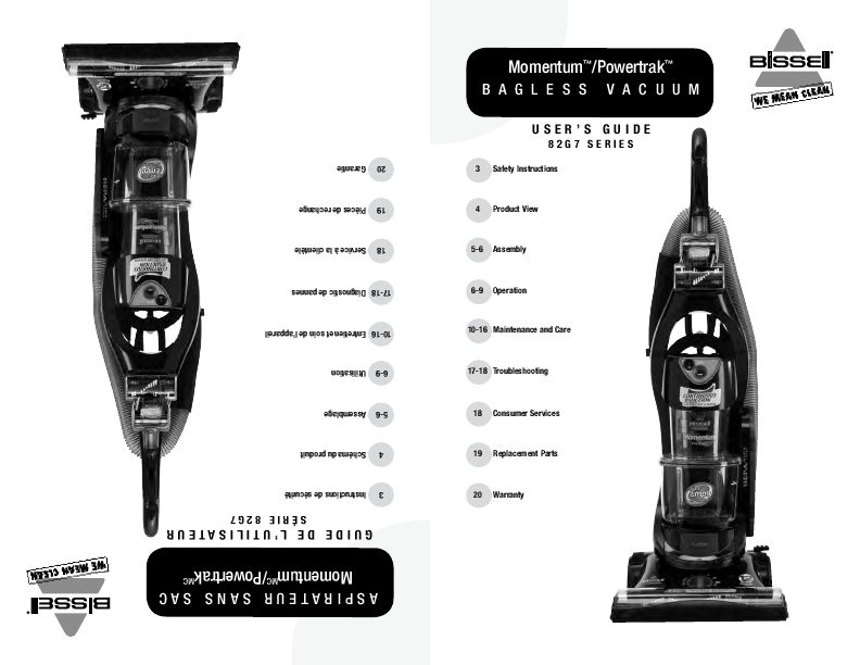 Bissell Vacuum Series 1650 Instructions