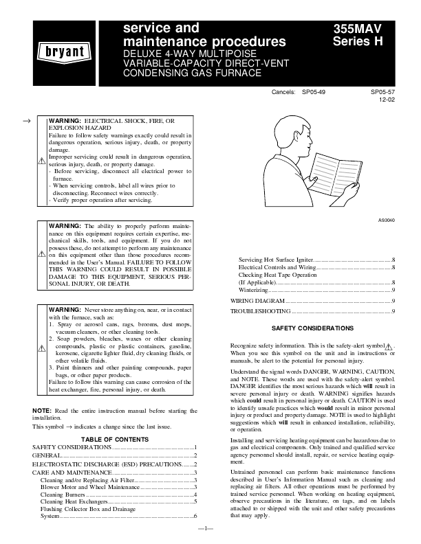 Bryant CONDENSING GAS FURNACE USER'S INFORMATION MANUAL