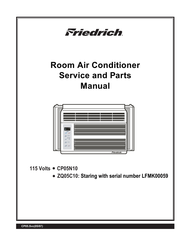 Friedrich Air Conditioner CP05 CP Line User's Guide