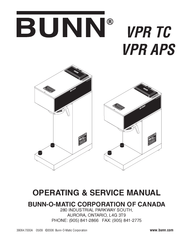 BUNN OPERATING & SERVICE MANUAL vpr and vps