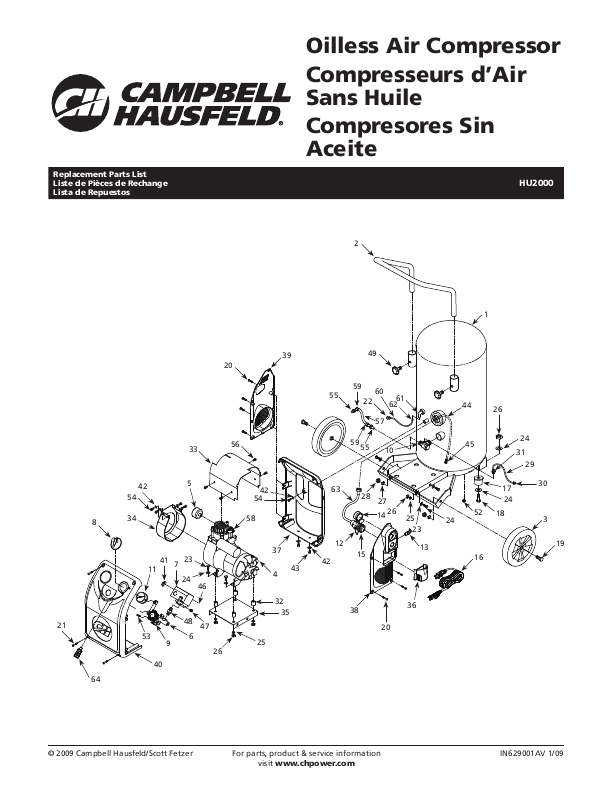 Campbell Hausfeld Air Compressor HU2000 User's Guide