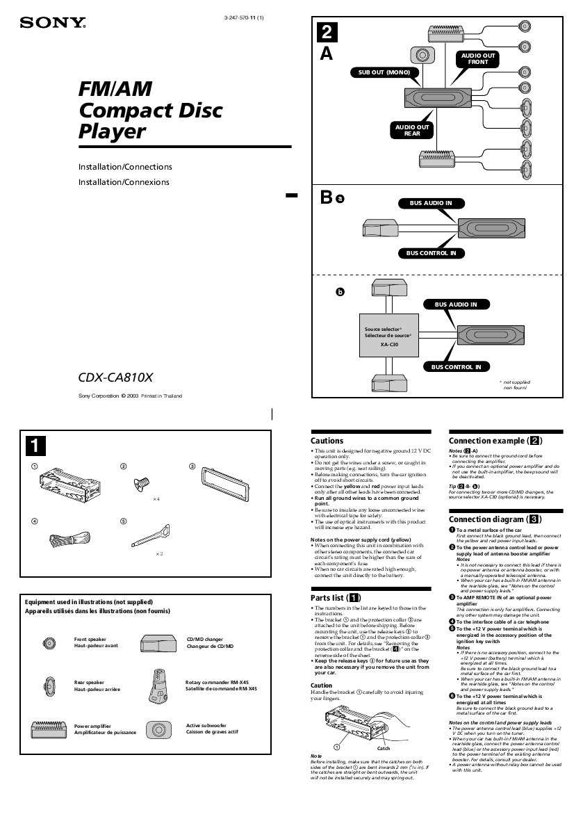 hight resolution of sony cd player wiring diagram http audiomanualsonlinecom manuals