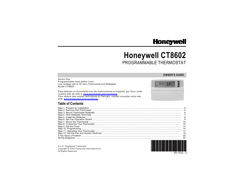 Honeywell OWNER'S GUIDE Programmable Thermostat CT8602