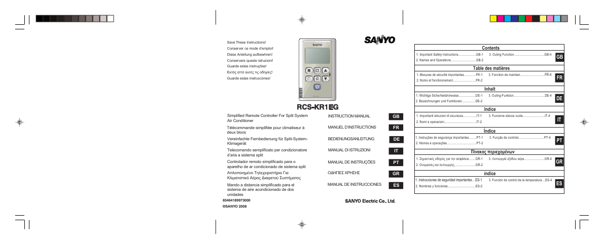 Sanyo Universal Remote RCS-KR1EG User's Guide