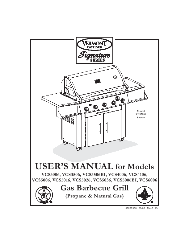 Vermont Casting Griddle VCS5006 User's Guide