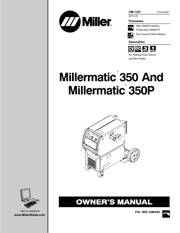 Miller Electric Welder Millermatic 350 User's Guide