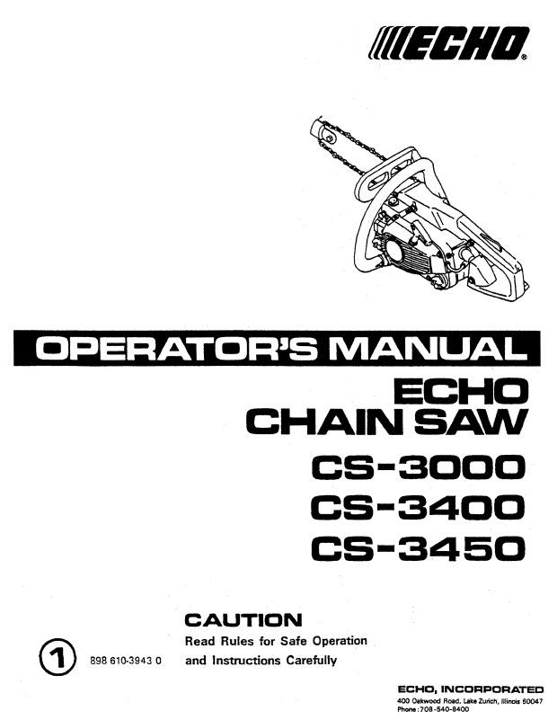 Echo Chain Saw Operator's Manual