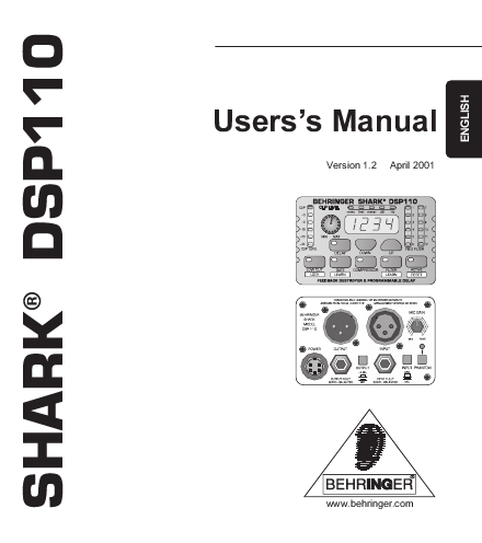 Behringer Power Supply SHARK DSP110 User's Guide