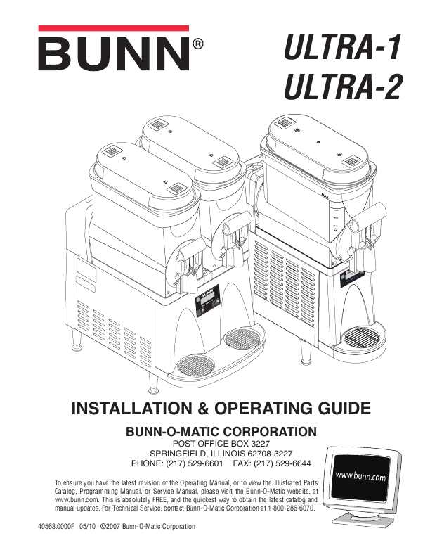 Bunn Beverage Dispenser ULTRA-2 User's Guide