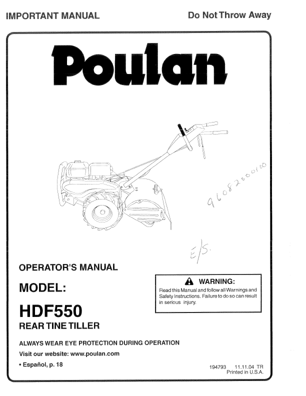 Poulan Rear Tine Tiller Operator's Manual