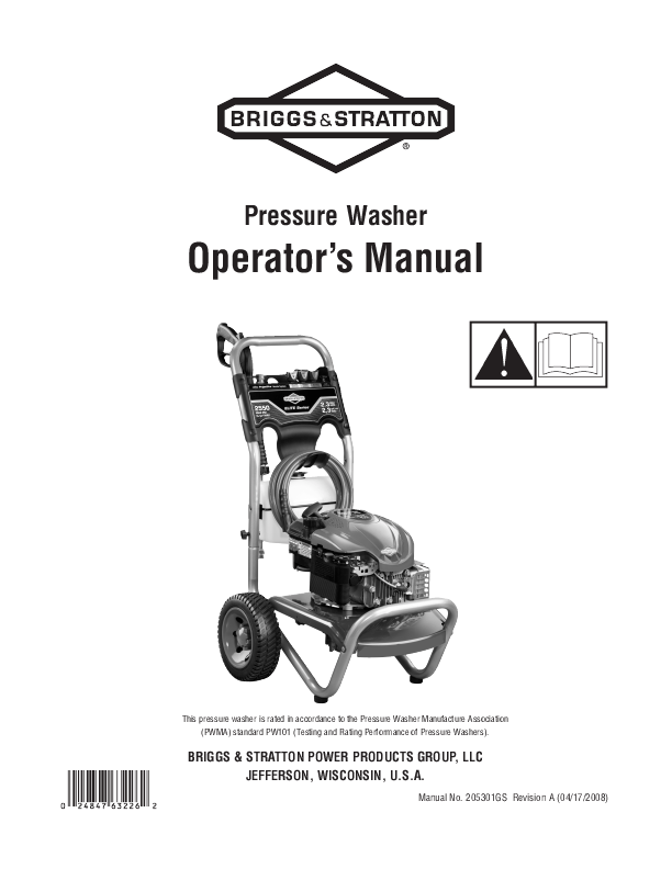 Briggs & Stratton Pressure Washer 2550 PSI User's Guide