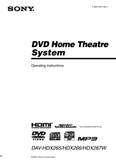 Sony Home Theater System DAV-HDX265 User's Guide