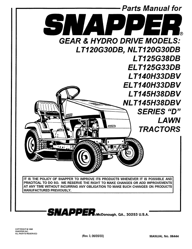 Snapper Lawn Mower ELT140H33DBV User's Guide