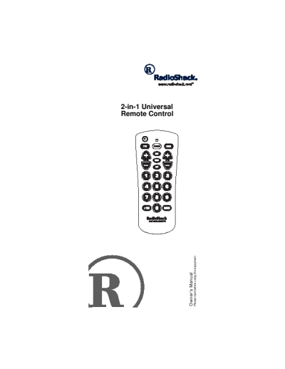 Radio Shack Universal Remote 15-2138 User's Guide