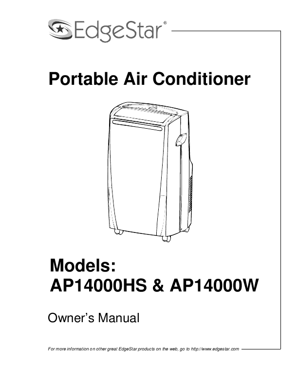 EdgeStar Air Conditioner AP14000HS User's Guide