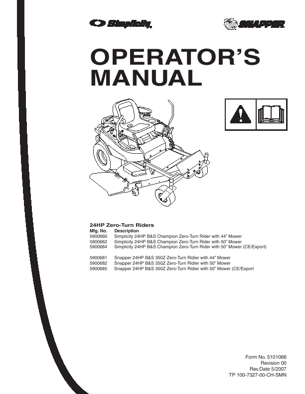 Search snapper snapper Zero-Turn riding mower User Manuals