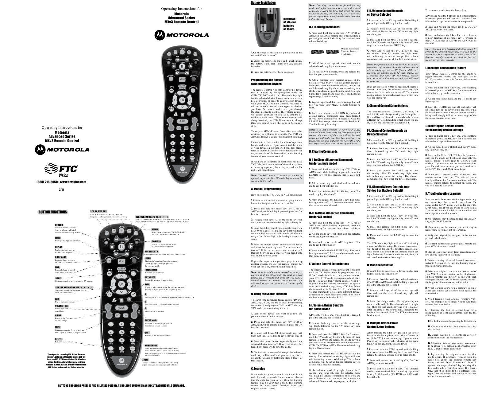 Search motorola motorola universal remote User Manuals