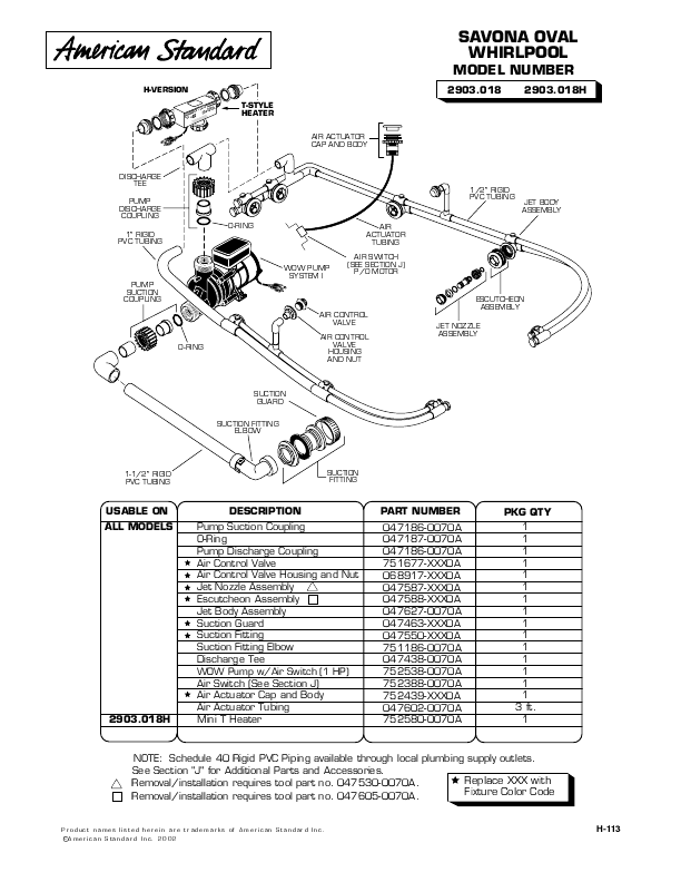 American Standard Hot Tub 047186-0070A User's Guide