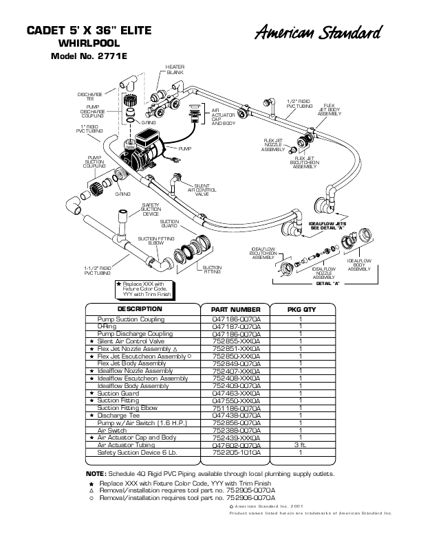 American Standard Hot Tub 2771E User's Guide