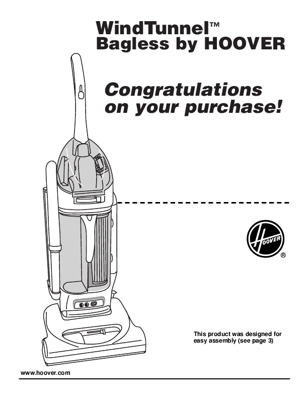 Hoover Owner's Manual Upright Bagless Vacuum Cleaner
