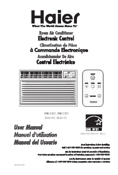 Haier Room Air Conditioner User Manual