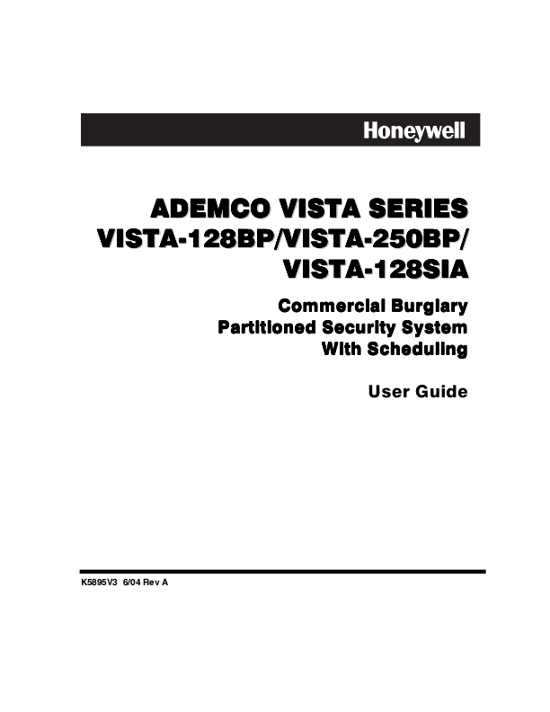 Honeywell Home Security System VISTA-128BP User's Guide