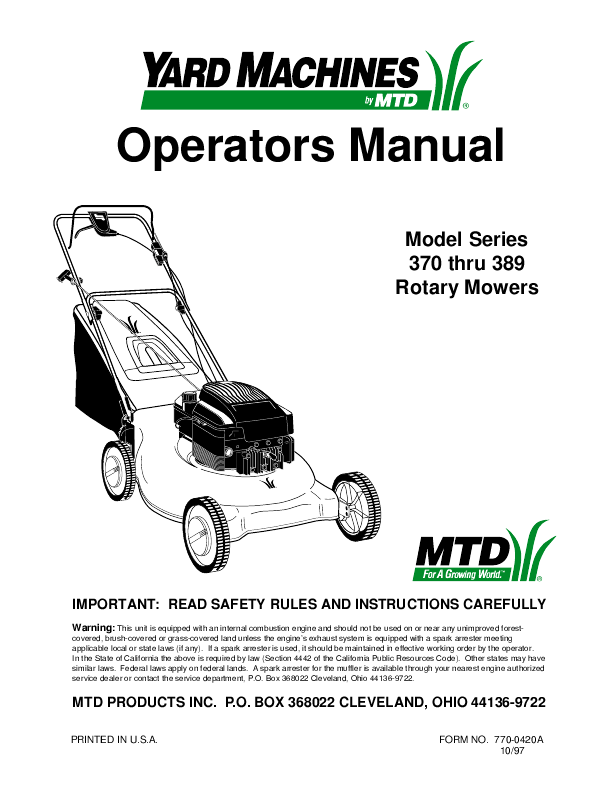 Page 616 of Yard Machines Lawn Mower 540 User's Guide