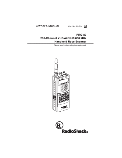 Radio Shack Owner's Manual 200 Channel VHF/Air/UHF/800MHz