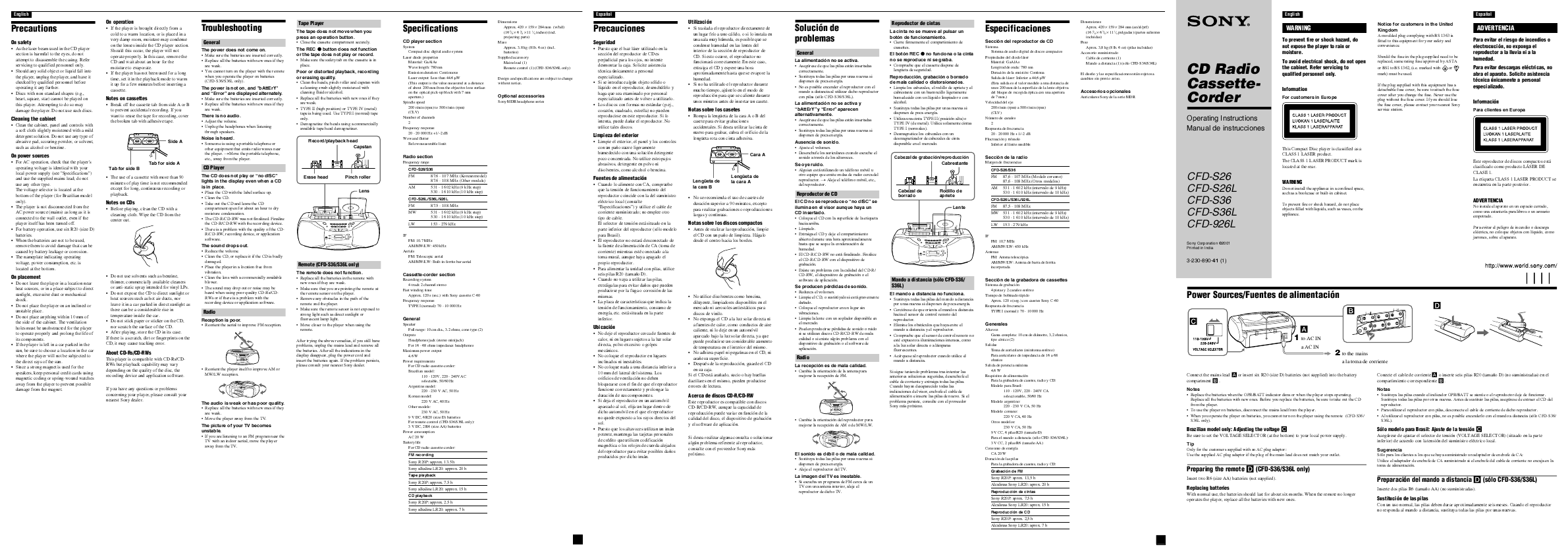 Sony Radio Cassette Player Operating Instructions