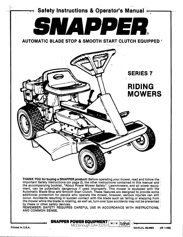 Snapper Riding Mowers Safety Instructions & Operator's Manual