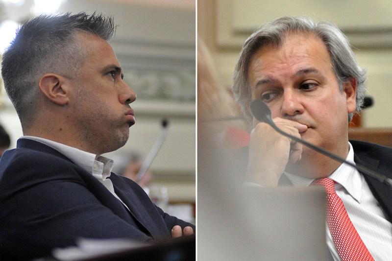 El diputado Busatto (PJ) y Farías (FPCyS). protagonistas en la disputa.