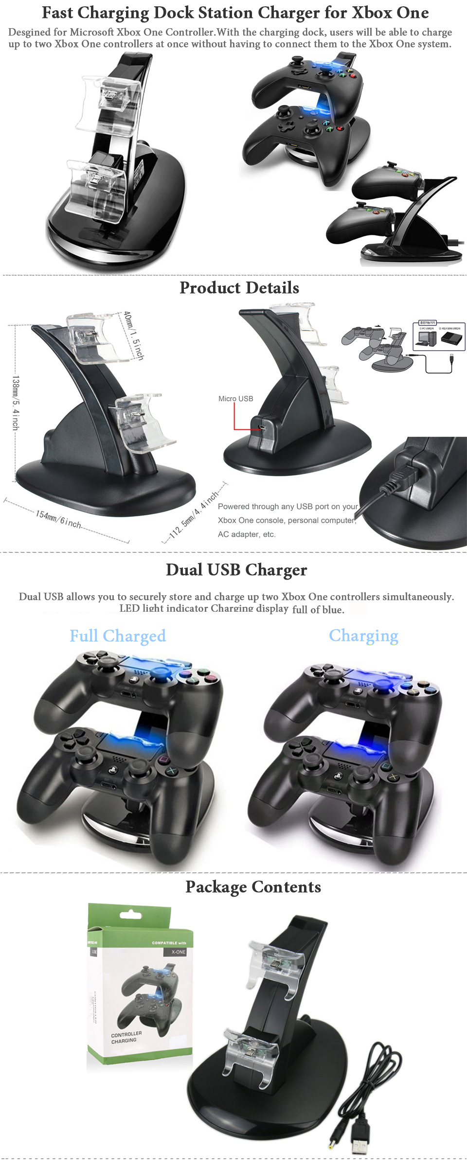 LED Dual Fast Charging Dock Station Charger for Xbox One