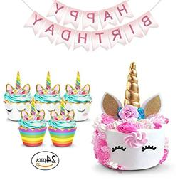 Unicorn Cake Topper Rainbow Cupcake Wrappers Kit