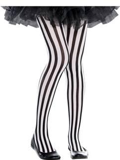 Black & White Vertical Striped Tights - Child 6-8yrs
