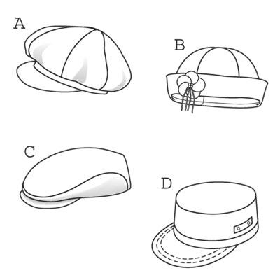 Burda 9587 Hats, caps