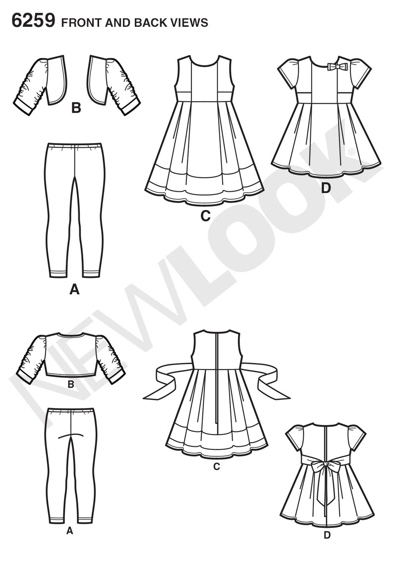 New Look 6259- Child's Dress or Top, Knit Leggings and Bolero