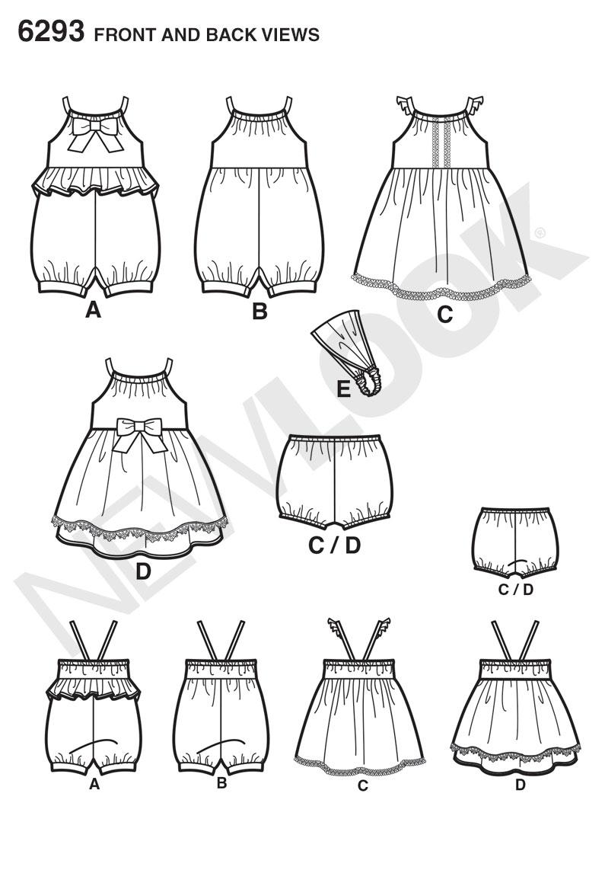 New Look 6293 Babies' Romper, Dress, Panties and Headband