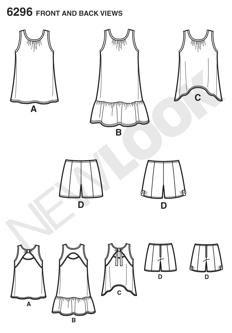 New Look 6296 Child's and Girls' Shorts and Knit Dress or Top