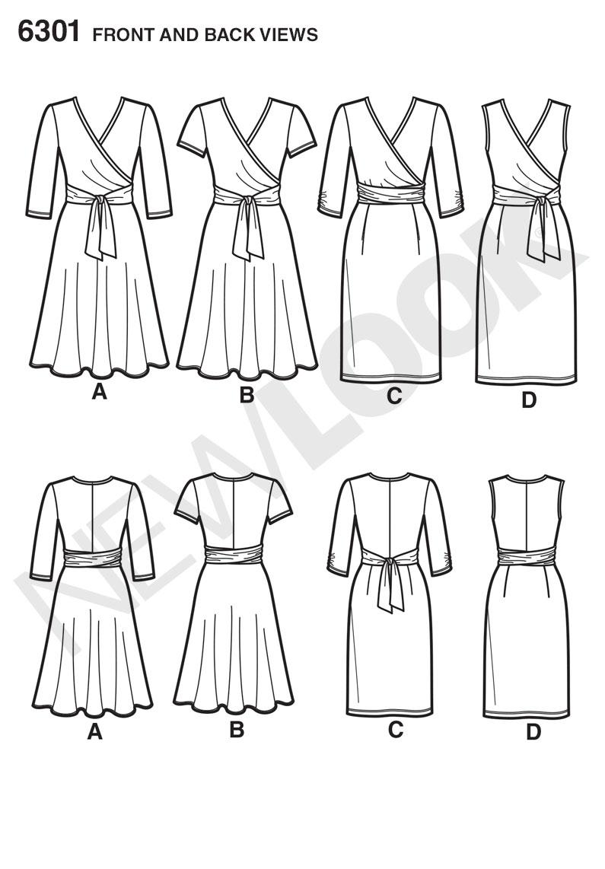 New Look 6301 Misses' Mock Wrap Knit Dress