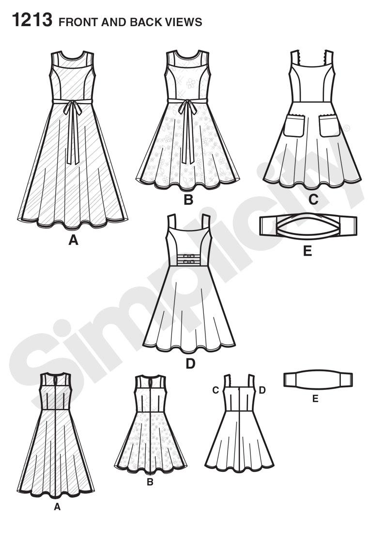 Simplicity 1213 Girls' & Girls' Plus Dresses and Knit Shrug