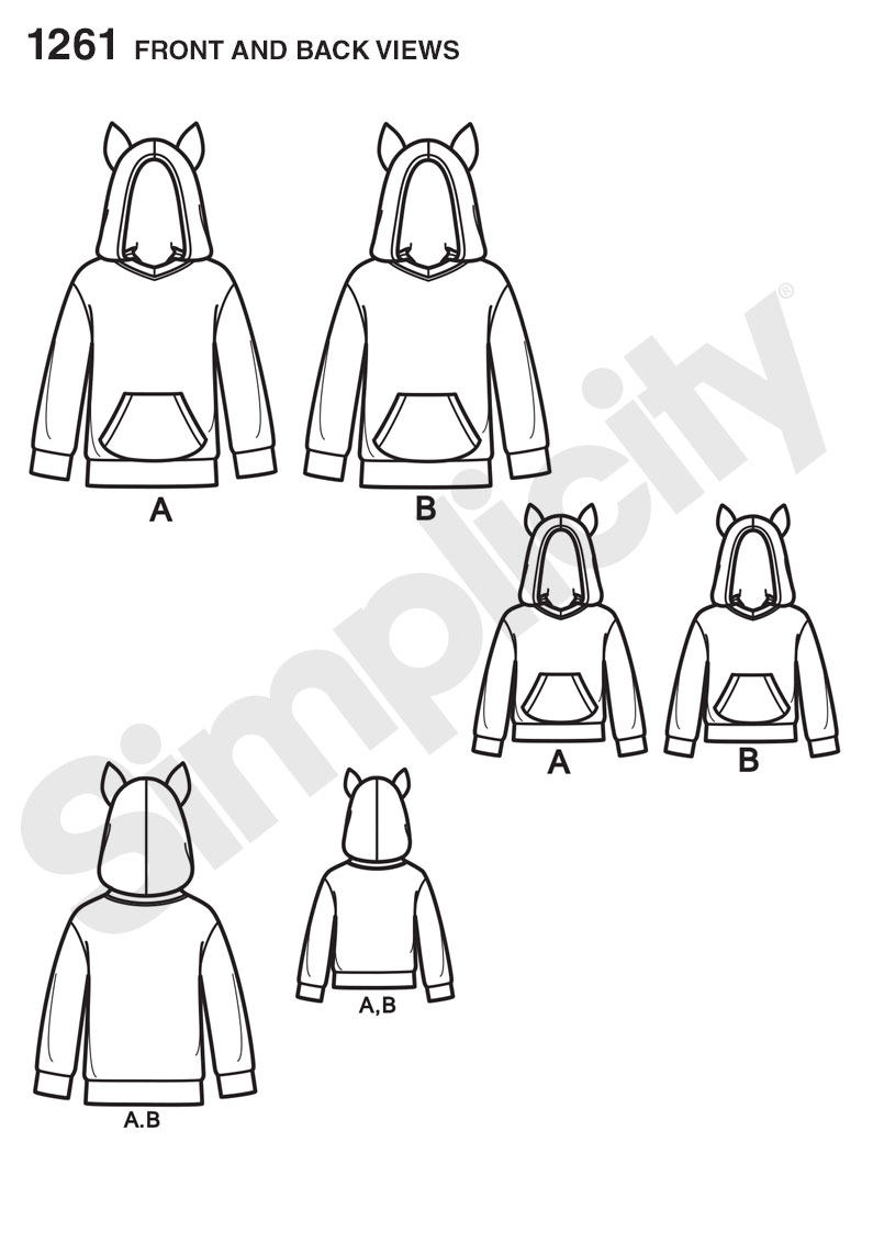 Simplicity 1261 Child's, Teen's and Adults' Hoodie
