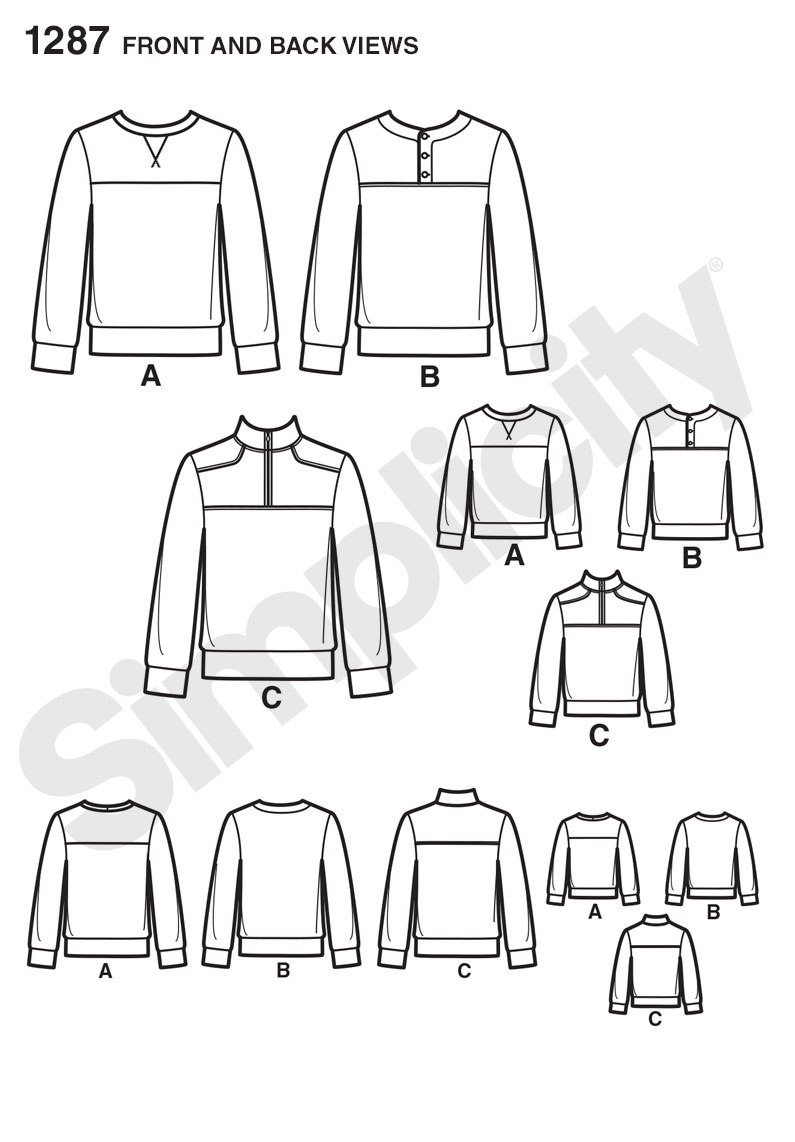 Simplicity 1287 Boys' and Men's Knit Pullover Shirts with