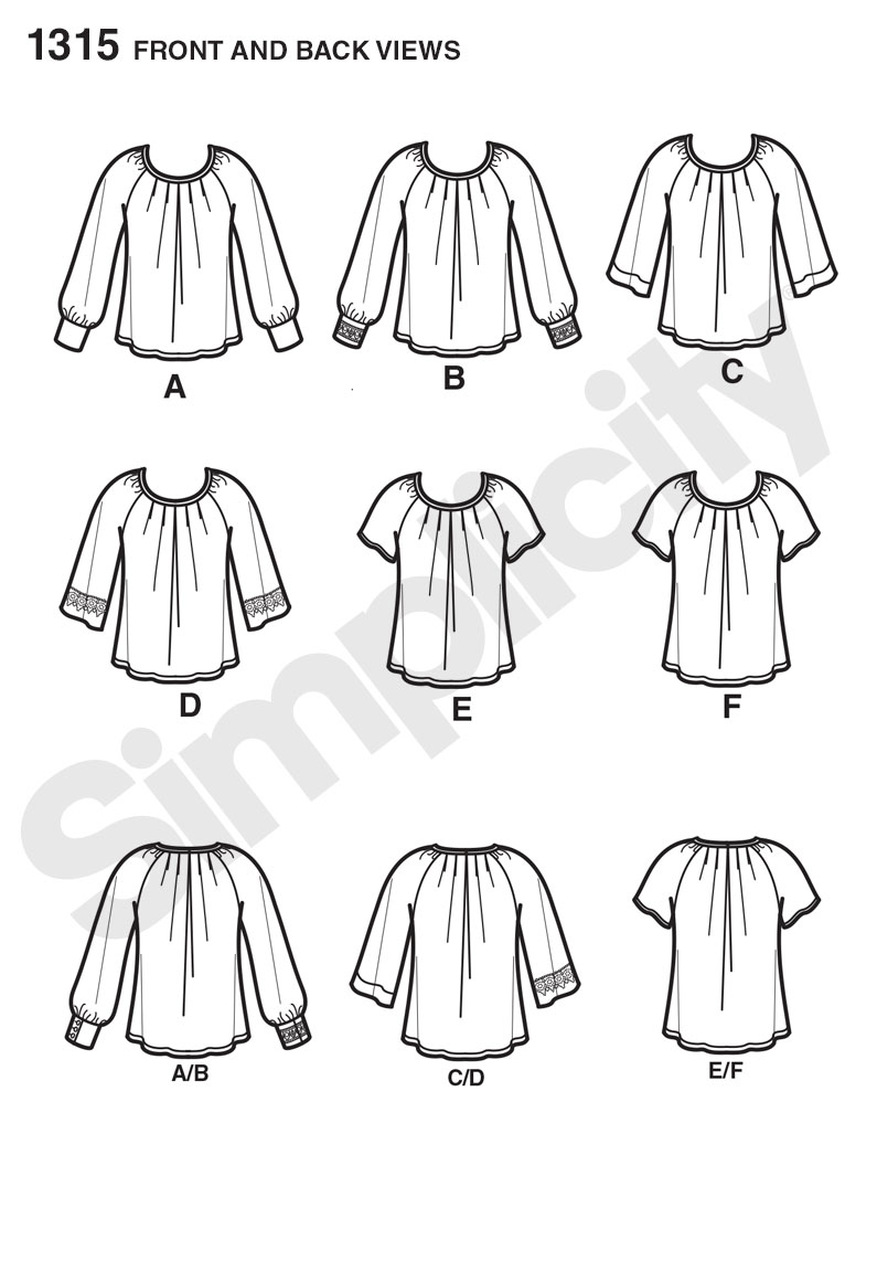 Simplicity 1315- Misses' Blouse with Sleeve & Trim Variations