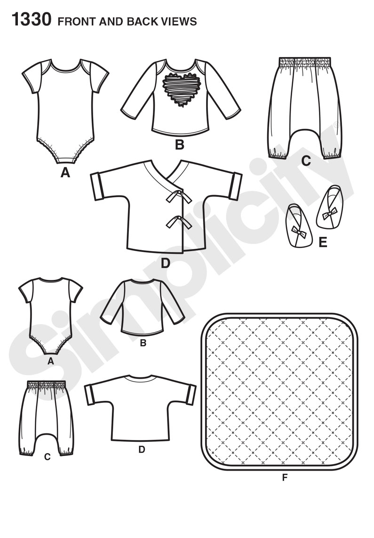 Simplicity 1330- Babies' Separates, Booties & Blanket