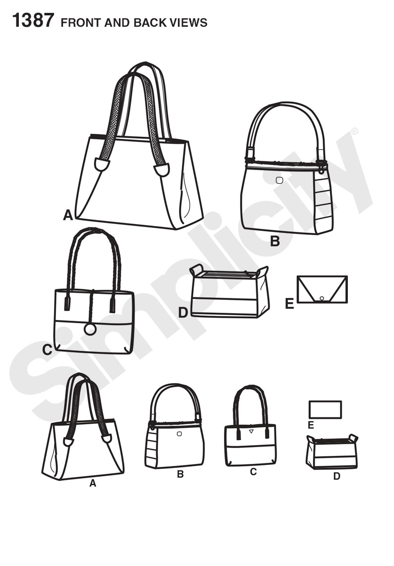 Simplicity 1387 Bags in Assorted Sizes