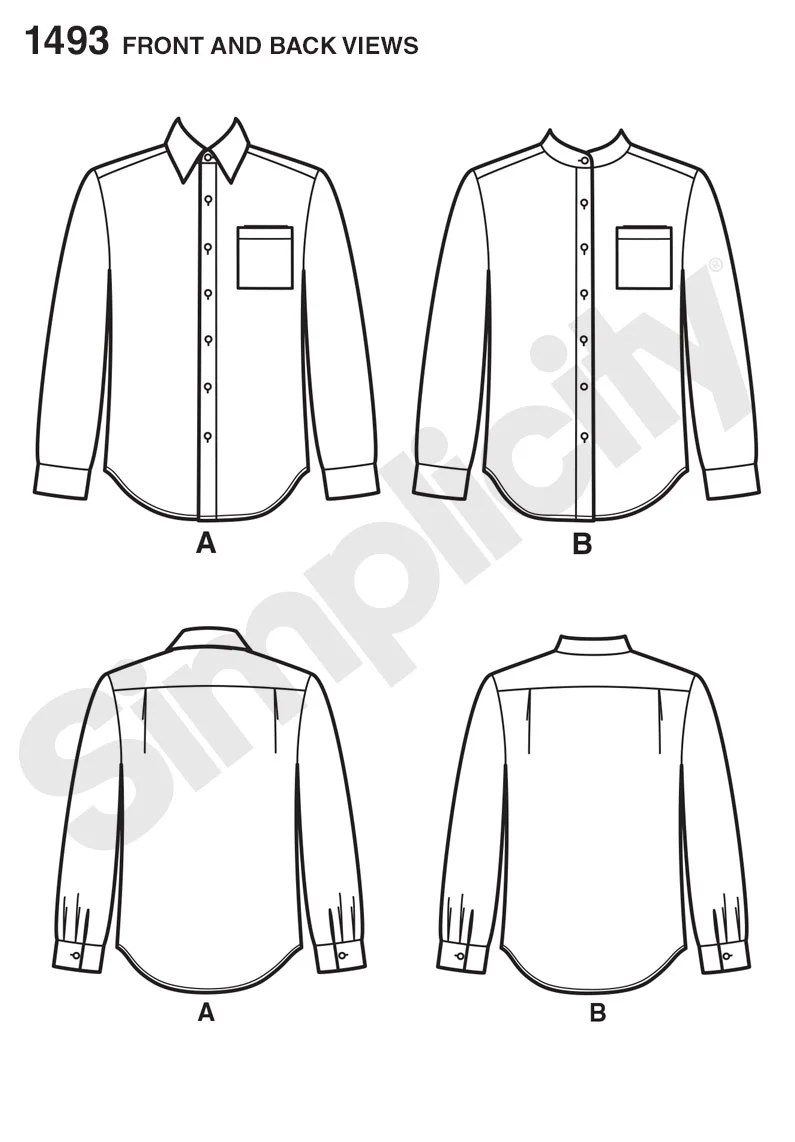 Button Down Shirts Fashion Flat Sketches Sketch Coloring Page