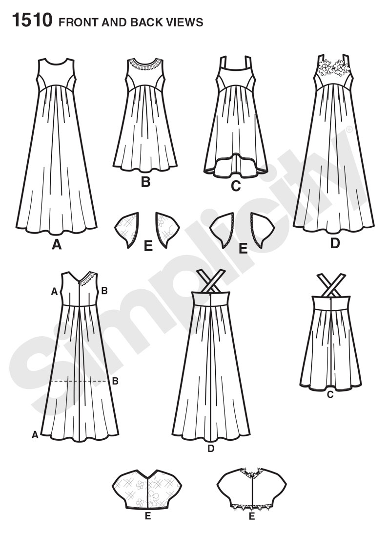 Simplicity 1510 Girls '& Girls' Plus Special Occasion Dress